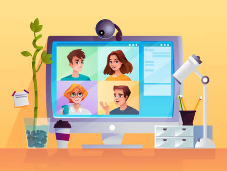 Computer display with web camera and cartoon people. Conference video call technology or internet chat with image. Webinar or web meeting, business communication, modern workplace, digital work