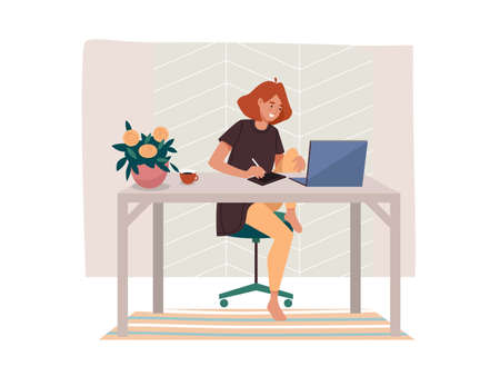 Worker doing remote job or woman working from home. Female at table with notebook and coffee cup. Girl at laptop near flowers. Freelancer vector illustration design. Freelance concept, cartoon sign Ilustração