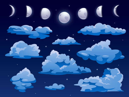 Clouds and moon ins nigh sky, vector cartoon background. Night sky cloudscape with abstract shape fluffy clouds and moon in lunar phases, full moon and crescent Ilustrace