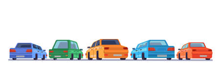Cars standing rear backs, cartoon vehicles backside on parking, vector isolated icons. Cartoon automobiles or cars on parking lot facing to background with rears side