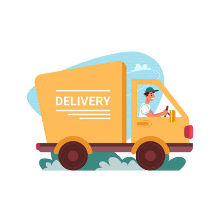 Delivery courier truck, car of deliver vector flat cartoon icon. Man driver in delivery van, express order shipping and online store service, food or shop order fast delivery, shipment vehicle