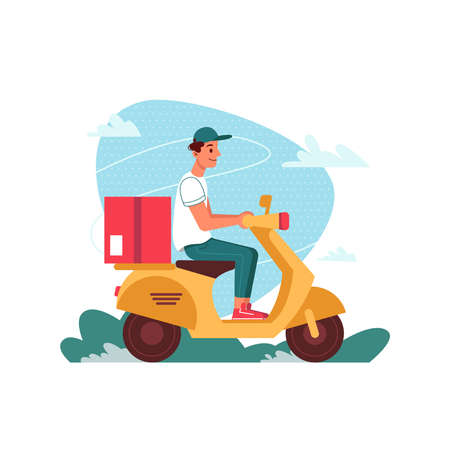 Delivery courier on scooter moped with parcel, delivering express order, vector flat cartoon isolated. Courier man with parcel on motorcycle or scooter moped delivering restaurant food or shop order
