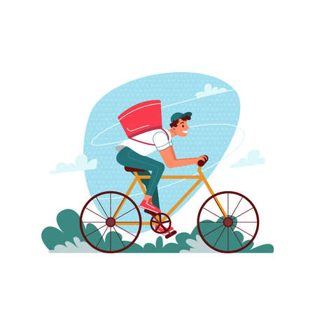 Delivery courier on bicycle with parcel, delivering express order, vector flat cartoon isolated. Courier man or boy with parcel on bicycle delivering restaurant food or online store and shop order
