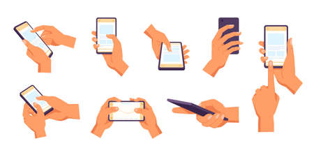 Hand holding smartphone. Vector icon of people hold smartphone or using touch gestures for mobile phone while reading. Press and point, pich and unpinch, rotate and swipe symbol. Digital device Ilustrace