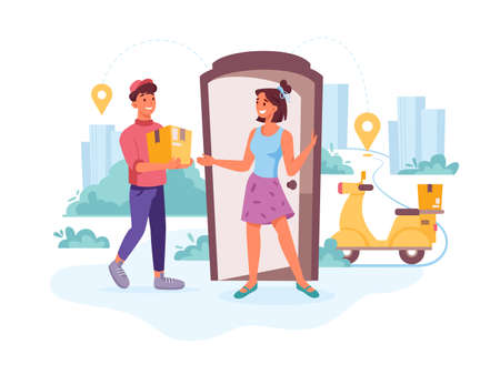 Delivery courier, happy client with order parcel, delivering express order, vector flat cartoon. Courier man with parcel on motorcycle or scooter moped delivering parcel order to woman home Фото со стока - 153956154