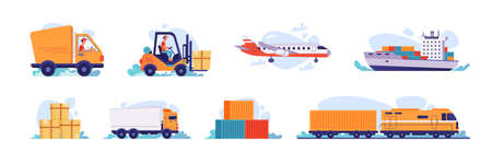 Delivery and logistics transport icons, vector shipping and warehouse flat isolated set. Cargo freight shipment, parcels storehouse logistics and delivery car, airplane, ship and forklift truck loader Фото со стока - 153956433