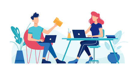 Man and woman working with laptop computers at office workplace tables, vector flat design. Office workers or freelancers team, girl and guy boy sitting at table desktop with laptops work on project Фото со стока - 153956158