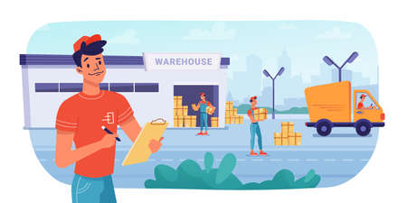 Delivery logistics, warehouse parcel boxes delivering by workers to minibus truck, vector flat design. Post mail or cargo freight boxes logistics and shipment process, warehouse loading and unloading Фото со стока - 153956197