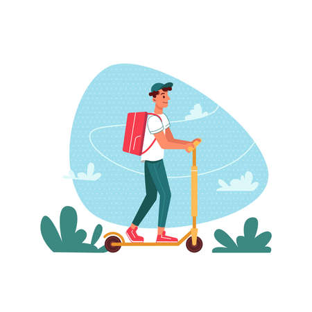 Delivery courier on scooter with parcel, delivering express order, vector flat cartoon isolated. Courier man with parcel on electric scooter delivering restaurant food or shop order in backpack Иллюстрация