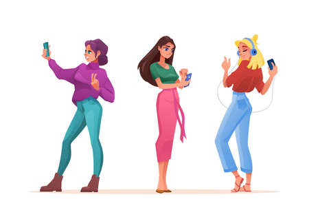 Women using smartphones or mobile phones, vector isolated flat icons. Girl listening music on mobile phone, young woman taking selfie photo or video chat and texting message or browsing internet Фото со стока - 154388112
