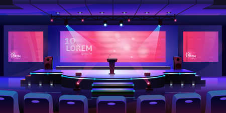 Stage for event or conference with tribune, convention hall for presentation or concert, vector background. Modern empty stage with speaker podium, chair seats and projector display monitors on screen Фото со стока - 154388119