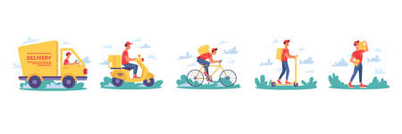 Delivery service, couriers delivering parcel boxes on bicycle and moped scooter, vector isolated flat cartoon icons. Express delivery truck, courier man or boy delivering yellow parcels or post boxes Иллюстрация