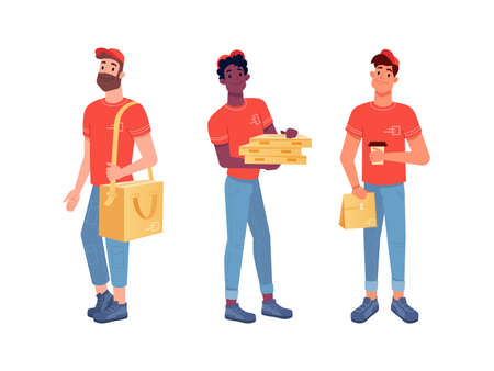 Food delivery couriers, pizza man and lunch boxes vector isolated flat icons set. Delivery men with parcels and food boxes from cafe and restaurants, catering online order ad delivery service Фото со стока - 154388133