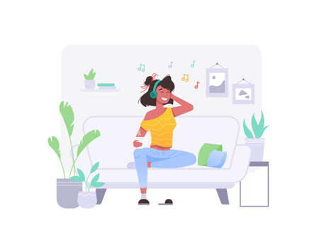 Girl listen music on coach sofa at home in headphones, vector flat isolated character. Young woman in wireless earphones listen music sitting on sofa coach in room, home fun and relax Фото со стока - 154388140