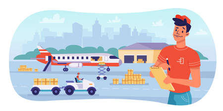 Delivery logistics by airplane, parcels shipping and warehouse, vector flat design. Avia delivery, cargo freight logistics and workers, parcel boxes loading and unloading to plane, shipment transport Фото со стока - 154388146