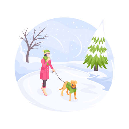 Pet walking in winter snow cold, woman with dog, vector isometric flat illustration. Girl with dog on leash walking at winter snowy park, bad cold weather outdoor, owner walking pet in nature