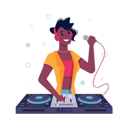 DJ girl or black Afro American woman playing music at turntable and speak in microphone, vector flat isolated. Girl DJ at club or music party play mix vinyl discs on turntable in headphones Иллюстрация