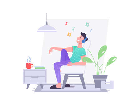 Guy in headphones listen music in chair at home, vector flat isolated character. Young man or teenager boy in wireless earphones listening to music, happy and relax sitting on chair or sofa in room Иллюстрация