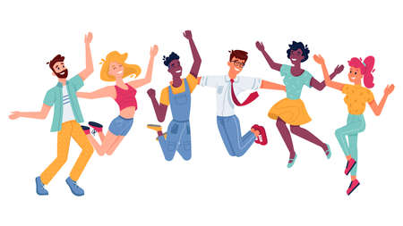 Happy people jumping, smiling in joy and fun with hands up, vector flat illustration. Young girls, boys or women and men guys jump up, freedom enjoy, friendship celebration, success and joy happiness Фото со стока - 154898882