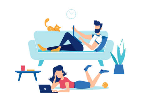 Man and woman with laptop computers at home, fun and entertainment, vector flat design. Man on sofa couch typing and looking at display, woman or girl lying on floor with laptops watching movie