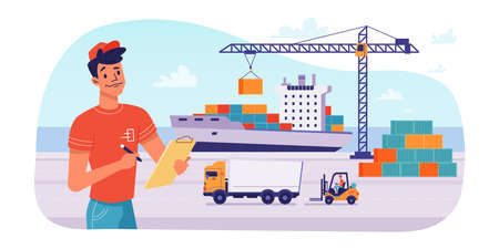 Delivery logistics by ship, parcels shipping loading or unloading in port, vector flat design. Maritime delivery shipment transport, cargo freight logistics, crane loading parcel boxes and containers