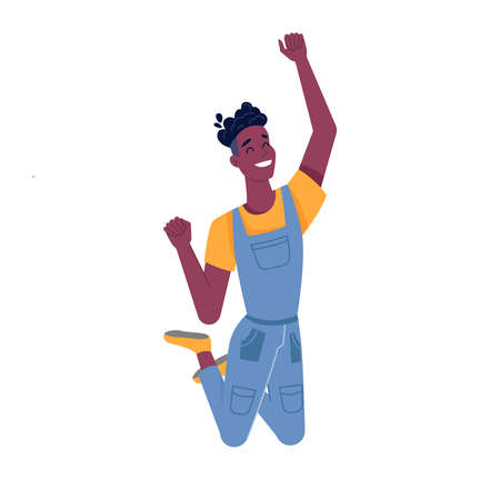 Man or black boy jumping with happy smile, vector African American guy isolated flat cartoon. Young teenager black man with dark skin jump and smile with raised hands, success, happiness or luck Фото со стока - 155127913