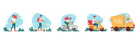 Delivery courier service, express delivering icons vector flat cartoon. Delivery couriers on bicycle or moped scooter, logistics truck and courier man or boy delivering red parcel box with orders Иллюстрация