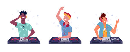 DJ boys play music in headphones, spinning discs at turntable, vector isolated flat set. DJ guys of different nationalities black or Afro American, Latino and white European, playing music records