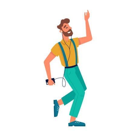 Guy dancing with smartphone, listening music in headphones, vector flat isolated character. Young man or teenager boy in earphones listen music and dance with mobile phone player Иллюстрация