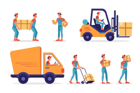 Warehouse workers with parcels boxes, delivery and shipping, vector flat isolated icons. Logistics and shipment process, workers carrying parcels, forklift truck loading or unloading to delivery car Иллюстрация