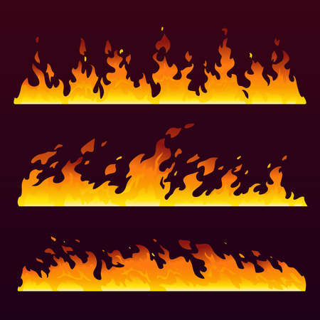 Fire flames wall with burning trail, fireball pattern, vector cartoon background. Hot blaze of sizzling wild fire with smoke, abstract isolated set of blast explosion, campfire or forest fiery Фото со стока - 155593758