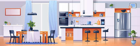 Kitchen interior background, modern home furniture, vector. Kitchen dining room table and appliances, cartoon flat design, stove or microwave oven and refrigerator, cupboard and kitchenware utensils Иллюстрация