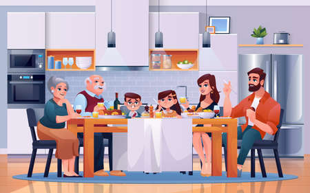 Family dinner at kitchen table, eating food, vector cartoon flat illustration. Happy family together at lunch table in kitchen room, sitting drinking and eating with child daughter, father and mother Фото со стока - 155694869