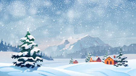 Winter snow landscape and houses on vector background with snowflakes falling from sky. Christmas winter scenery of cold weather and village houses in town or village forest, snowy hills and fields
