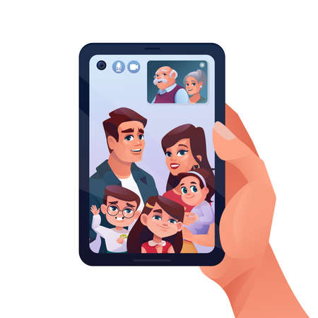 Video call or family chat in phone or smartphone, vector cartoon illustration. Child and elderly parents video call on quarantine, woman with kids chatting on mobile phone online watching in window