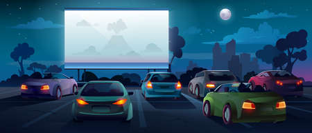 Car cinema or drive in movie theater and auto theatre with outdoor screen, vector cartoon background. Car cinema or drive movie in open air with people in cars on parking lot watching movie Фото со стока - 155551556