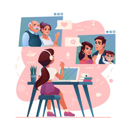 Video call and group chat to family and friends on computer, vector cartoon illustration. Girl kid chatting and sending messages in video call to family parents and grandparents, sitting at table