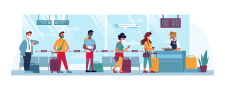 Airport, people in masks, travel and social distance, coronavirus safety vector cartoon flat. People at airport social distance line boarding to flight with luggage, covid 19 epidemic tourism Иллюстрация
