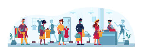 Clothing store queue, social distance, people line in masks to shop cashier, vector flat cartoon. Coronavirus Covid 19 epidemic social distance, men and women queue in shop or clothing trade center Иллюстрация
