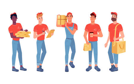 Delivery couriers isolated flat icons set, delivery men with parcels and food boxes. Courier boys delivering express orders, pizza, cafe and online shop order parcel in paper bag Иллюстрация