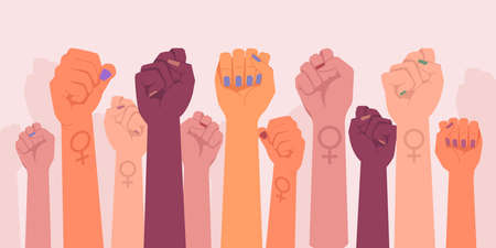 Feminism fists, protest and revolution, feminists fight, vector cartoon flat hands. Feminism activists fist symbol of strength, equality and riot, woman rights union, female power and solidarity Иллюстрация