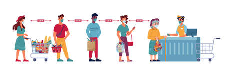 Grocery store social distance queue, social distance, people in line with food products, vector flat. Coronavirus COVID social distance, people in masks at queue in supermarket with product baskets