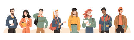 Students multicultural and multiracial millennial teenagers, trendy people, vector flat cartoon. University young people or students friends of different nation with study books in modern clothes