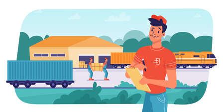 Delivery logistics by train, parcels shipping, loading or unloading by workers, vector flat design. Railway delivery and shipment transport, cargo freight warehouse logistics, boxes loading in train