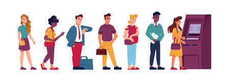 ATM machine line queue, people waiting to withdraw money, vector flat illustration. People standing in queue line to ATM terminal for money in hurry, angry and impatient looking at watches