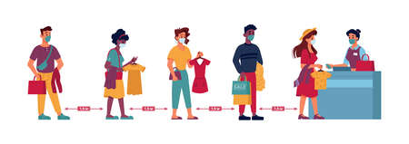 Clothing store social distance, people in masks queue line with clothes in hands, vector flat. Coronavirus Covid social distance, men and women queue to shop cashier checkout desk, protective measure