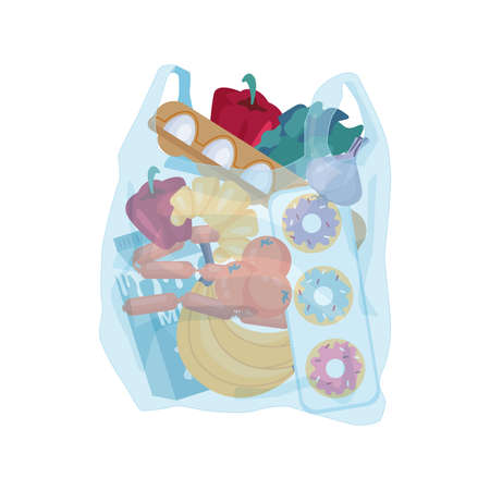 Plastic bag with groceries bought in shop. Vector cellophane transparent package with vegetable and fruits, dairy and sweets. Polythene sack with eggs and sausages, milk and donuts, banana and pepper