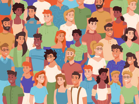 Group of people of different nationalities, crowd of diverse characters. Vector multiethnic society, multicultural youth diversity. Men and women standing in queue, multiracial audience smiling public Иллюстрация