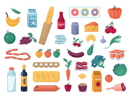 Set of vegetables and fruits, dairy and meat products isolated. Vector pepper, broccoli and eggplant, tomato. Banana and grapes. Donuts and bread loaf. Cheese and milk, eggs, sausage. Grocery shopping