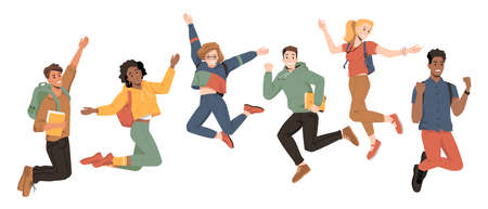Multicultural students jumping, happiness success, happy young people, vector flat cartoon. University students or college and school friends jump up with raised hands and happy smiles of celebration